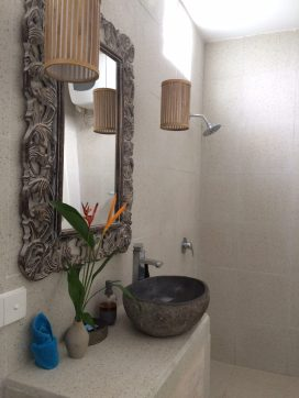 The Jepun suite with enclosed ensuite bathroom and non-slip tiles and roll in shower.