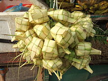 'Tipat Cantok', Balinese Steamed rice made in a woven palm leaf case:)