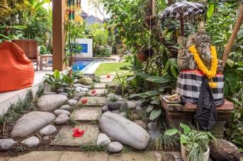 Rock garden next to bale.